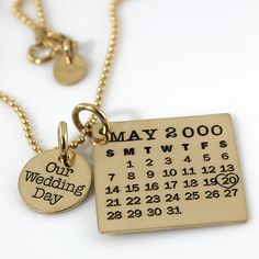 Our+Wedding+Day+Mark+Your+Calendar+necklace++hand+by+PunkyJane,+$163.00