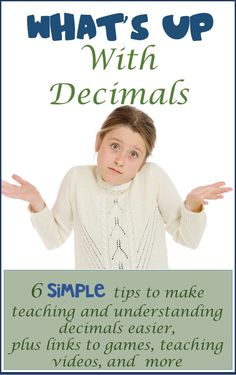 """What's Up With Decimals! """"Step-by-step lessons that clear the cobwebs, and let understanding shine through! These six tips, teaching video and game links are sure to help wheather you are just introducing decimals, or need to do an intervention! Teaching Decimals, Math Fractions, Teaching Math, Teaching Ideas, Math Teacher, Math Classroom, Classroom Tools, Teacher Blogs, Math Resources"""