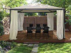 14 DIY Backyard Gazebo Design and Decorating Ideas Cheap Gazebo, Hot Tub Gazebo, Gazebo Canopy, Backyard Gazebo, Garden Canopy, Garden Gazebo, Backyard For Kids, Pergola Patio, Backyard Landscaping