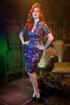 Pinup Couture Elizabeth Dress in Moth Print Crepe