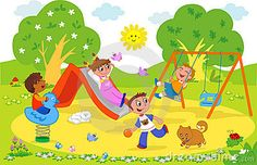 lekplats: Playground: cartoon illustration of kids playing together at the park. Happy Children's Day, Happy Kids, Art Drawings For Kids, Drawing For Kids, Picture Story For Kids, Picture Composition, Kids Background, Child Day, Stories For Kids