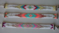 Loom beaded bracelet with adjustable chain silver plated / Bracelet Crochet, Bead Loom Bracelets, Beaded Bracelet Patterns, Friendship Bracelet Patterns, Beaded Jewelry, Native Beading Patterns, Native Beadwork, Bead Loom Designs, Bead Loom Patterns
