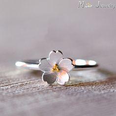 El envío Libre 925 Anillo de Plata anillo de Plata Anillo de Oro Flores de Sakura Regalo Joyería de Las Mujeres Anillos Anel anillo De Dedo Abierto