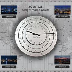 YOUR TIME (brevetto di Marco Poletti) per sapere che ore sono in tutto il mondo.  Design: Marco Poletti  YOUR TIME (patent of Marco Poletti) to know what time it is all over the world.  Design: Marco Poletti  #formecreative #clock #timezone #design #creativity #patent #newyork #rome #london #tokyo