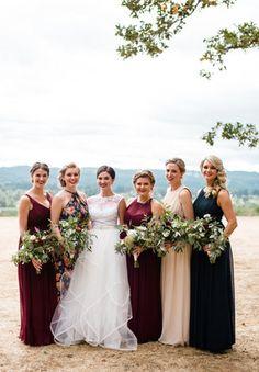 Rich marsala and navy blue bridal party Bridalbliss.com | Portland Wedding | Oregon Event Planning and Design | Laura Morseman Photography