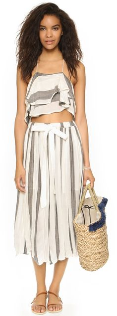 afed4a8515456 A striped Free People two-piece set. India. Free People Skirt