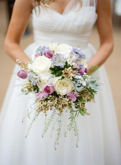 White, lavender and blue bouquet