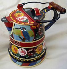 kingfisher in a coffeepot (?) #canalware (It could also be a watering can or a jug... I don't now how big it is.)