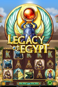 Legacy of Egypt is a 5 reel, 30 payline video slot that's set in the desert kingdom in front of an ancient temple. The game is riddled with paint and gold, and you get the feeling that you can live the life of a God. You can also find a pyramid that rotates on three different tiers which is the game's scatter symbol. Egypt Games, Illustrations And Posters, Riddles, Slot Machine, Online Casino, New Zealand, Temple, Symbols, God