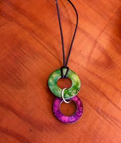Alcohol inks are versatile pigments that can be used on a variety of unconventional surfaces to transform ordinary objects into colorful creations. This washer is up-cycled into a one-of-a-kind neckla
