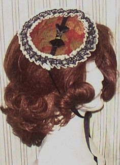 """3515 Victorian Steampunk Lolita tiny bonnet or fits 18"""" American Girl or Our Generation doll  hat trimmed with ribbon and lace by geechlark on Etsy"""