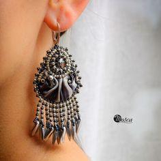 Gisela - bead embroidered earrings with shobori silk ribbon.
