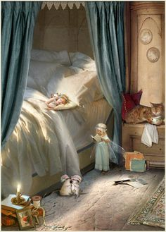 Bedtime - Illustration by Charlotte Bird Foto Fantasy, Fantasy World, Fantasy Art, Sweet Pictures, Fairy Pictures, Love Fairy, Fairy Art, Bedtime Stories, Magical Creatures