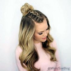 wedding hairstyles easy hairstyles hairstyles for school hairstyles diy hairstyles for round faces p Braided Top Knots, Braided Buns, Top Knot With Braid, Twisted Braid, Knotted Braid, Lace Braid, Braided Ponytail, Mohawk Braid, Diy Hairstyles
