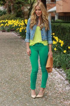 green + neon yellow.