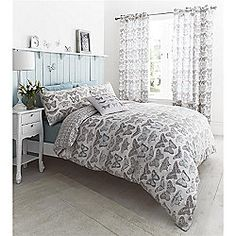 Catherine Lansfield Pastiche Butterflies Duck Egg Duvet Cover Set - Double