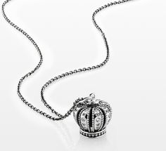 PANDORA crown pendant in sterling silver #PANDORAnecklace
