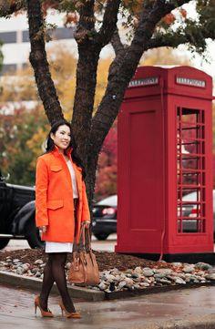 cute & little blog | sheinside orange coat, monochromatic winter white outfit, sole society elisa pumps, obocreations earrings