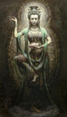 Kuan Yin Buddhist Goddess of Mercy and Compassion Kuan Yin (also spelled Guan Yin, Kwan Yin) is the bodhisattva of compassion venerated by East Asian Buddhists. Commonly known as the Goddess of Mercy,. Dunhuang, Sacred Feminine, Divine Feminine, Yoga Studio Design, Green Tara, Mystique, Guanyin, Gods And Goddesses, Wicca