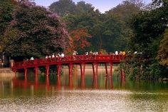 Red bridge at Hoan Kiem Lake in center #Hanoi #VietNam