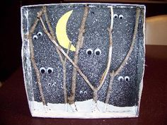 OWL MOON -- Winter Woods mixed media: Ages - Art Workshops for Libraries - reminds me of snow painting, but then + twigs and eyes, etc - cool for numerous reasons Art For Kids, Crafts For Kids, Arts And Crafts, Kids Diy, Kindergarten Art, Preschool Crafts, Fall Crafts, Halloween Crafts, Diy Crafts