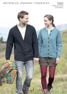 Hayfield Ladies & Mens Cardigans Bonus Knitting Pattern 7052 Aran