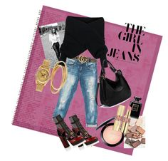 The Girl in Jeans by jritchiedesign on Polyvore featuring polyvore, fashion, style, WithChic, Sans Souci, Burberry, Rolex, Cartier, Gucci, Stila, MAC Cosmetics, Yves Saint Laurent, Chanel, DL1961 Premium Denim and clothing