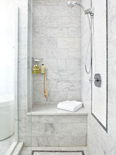 Just like in a lavish spa, a seat in the shower will encourage a slower pace. Tile the bench to match the rest of the shower, or add a bench made of a contrasting material like teak or glass. Enhance a shower bench with other upgrades in the shower, such as a steam feature or multiple showerheads.