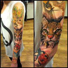 I've been planning a full arm animal tattoo for a while! This one is stunning although I think I would add some geometric shapes in there as well ;) great work from Radu Rusu