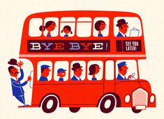 Greeting card design for Hi five postcard set by Esther Aarts Bus Drawing, Illustration Arte, Illustrations Vintage, Hi Five, Red Bus, You Draw, Illustrators, Poster Prints, Posters