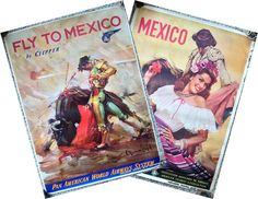 Beautiful Mexico original vintage travel posters including for Pan American World Airways, circa 1950 and 1955. Artwork by Carlos Ruano Llopis (Pan Am poster).
