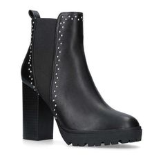 MISS KG  Trinity Black High Heel Chelsea Boots (5.580 RUB) ❤ liked on Polyvore featuring shoes, boots, ankle booties, black stacked heel booties, high heel platform boots, black platform boots, chunky platform boots and black high heel booties