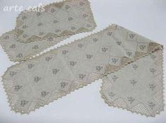 conjunto de quarto, em pano tipo linho e crochet, 3 peças 100% algodão mercerizado,tecido tipo linho crochet
