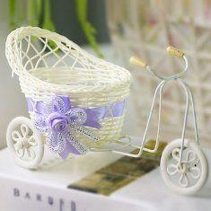 Artificial bicicleta rattan triciclo vasos flor cesta de armazenamento vaso de decoração de festa em casa do casamento