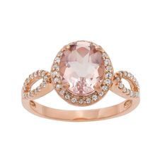 14k Rose Gold Over Silver Morganite Triplet and Lab-Created White Sapphire Oval Halo Ring, Women's, Size:
