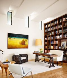 Clean,+ultra+modern+office+and+library+in+one+-+home+library+design