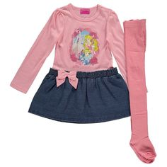 Girls Disney Princess Dress & Tights Outfit Set