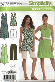 Simplicity Sewing Pattern 3773 Womens Plus Size 20W-28W Easy Summer Wardrobe Halter Dress Top  --  Need a different sewing or craft pattern? Check out our store www.MoonwishesSewingandCrafts.com for 8000+ uncut sewing patterns all sizes and styles!