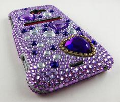 PURPLE HEART DIAMOND HARD CASE COVER HTC EVO 4G LTE SPRINT PHONE ACCESSORY | eBay