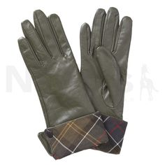 Barbour Ladies Lady Jane Leather Gloves Olive/Classic Tartan - Barbour Ladies Lady Jane Leather Gloves in Olive/Classic Tartan. The Barbour Lady Jane Leather Gloves are a wrist covering gauntlet style glove and feature a green tartan trim on the cuff, small antique brass branded Barbour stud detail and a lightweight polyester fleece lining. *** UK Delivery Only ***