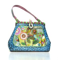 Upcycled Handpainted Bag Funky Vintage Vinyl Handbag Whimsical Style One of a Kind, Blue Purple Green Multi-Colored via Etsy.