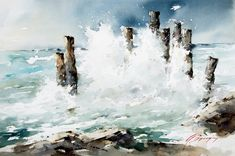 Watercolor Ocean, Watercolor Landscape Paintings, Watercolor Artists, Floral Watercolor, Ocean Scenes, Beach Scenes, Traditional Paintings, Am Meer, Paintings I Love