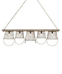 Wood & Metal Basket Chandelier