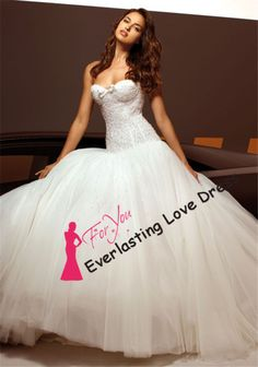 2014 Sweetheart Neckline Fully Beading Bodice Matte Tulle With Crystals Puffy Wedding Dresses Sexy Bridal Gown New Here