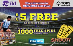 Shoot and win big with Wild Jackpots Casino during the Euro 2016 including 2 tickets to the final match!  #Win #Euro2016 #OnlineCasino #Jackpot #Football #Soccer