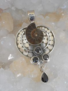 Ammonite and Sterling Fossil Pendant 1 with Onyx