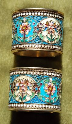 2 Silver Napkin Rings CLOISONNE Russian enamel by AntiqueCurrency, $850.00