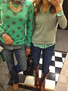 Stitch fix stylist: I like the layering, blouse with sweater. The one on the right not the poka dot.