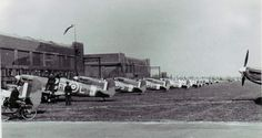 331 Squadron Spitfires lined up at Catterick in 1942.