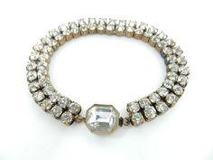 Antique Czech, Rhinestone Bracelet, Bohemian Crystal, Bridal Bracelet, Wedding Jewelry, Signed Bracelet, Rhinestone Jewelry, Art Deco